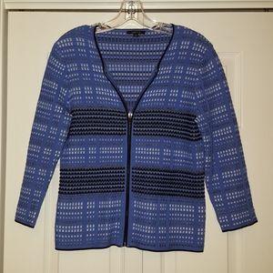 Carlisle blue knit zip up jacket, size medium